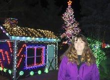 Une belle femme de sourire avec des lumières de vacances derrière Image stock