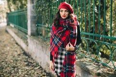 Une belle femme en automne Photo stock