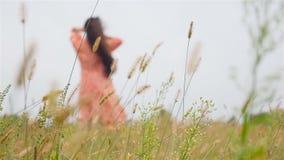 Une belle fille se tient dans un domaine avec la haute herbe Mouvement lent banque de vidéos
