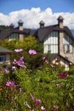 Une belle maison de type de l'Europe et un jardin Photographie stock libre de droits