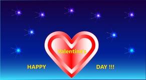 Une belle photo avec des feux d'artifice, un coeur et un jour heureux du ` s de Valentine d'inscription décorative ! ! ! Photos stock