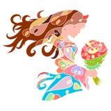 Une belle princesse ou jeune mariée avec un bouquet des fleurs, un intr illustration libre de droits