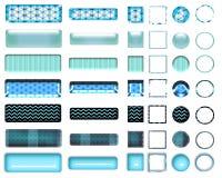 Une belle sélection de turquoise de site Web se boutonne dans différentes formes Photographie stock libre de droits