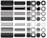 Une belle sélection noire de site Web se boutonne dans différentes formes Photo stock