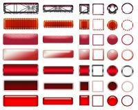 Une belle sélection rouge de site Web se boutonne dans différentes formes Images stock