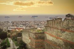 Une belle vue de Salonique de la tour de Trigonion Photo stock