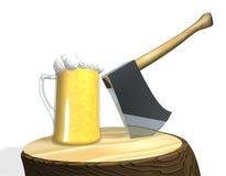 Une bière fraîche sur le bois Image libre de droits