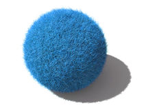 Une bille pelucheuse bleue d'isolement Image stock