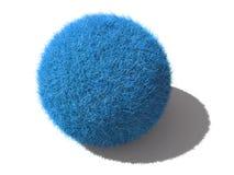 Une bille pelucheuse bleue d'isolement Image stock