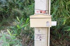 Une boîte aux lettres en bois de forme de maison accrochant sur un arbre Photo libre de droits