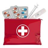 Une boîte de premiers secours avec la trousse médicale Illustration de vecteur images stock