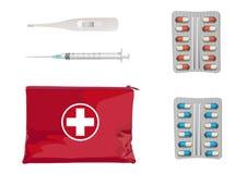 Une boîte de premiers secours avec la trousse médicale Illustration de vecteur photo libre de droits