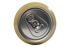 Une boîte en fer blanc de bière était ouverte au dessus photographie stock
