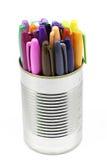 Boîte d'A de stylos colorés Images libres de droits