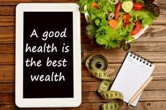 Une bonne santé est la meilleure richesse Images stock