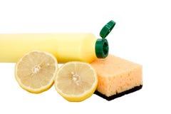 Une bouteille jaune de nettoyeur de ménage Photo stock