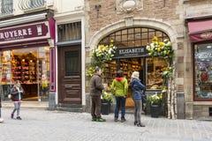 Une boutique de chocolat à Bruxelles Image libre de droits