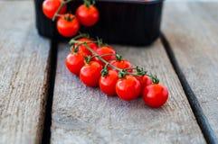 Une branche des tomates-cerises organiques rouges sur un fond en bois Images stock