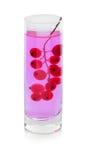 Une brindille de groseille rouge lumineuse dans un verre avec de l'eau, baies pour les cocktails régénérateurs d'isolement sur un Images libres de droits