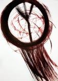 Une brosse trace un cercle et plusieurs lignes Harmonieusement se développant dans le receveur rêveur de vent photos stock