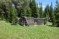 Une carlingue de rondin en ruines dans les montagnes Images libres de droits