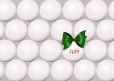 Une carte de Noël abstraite minimalistic avec des boules d'un arbre de Noël illustration stock