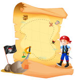 Une carte de trésor avec un jeune pirate Image stock