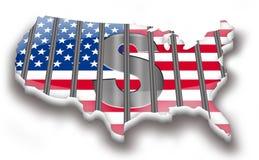 Une carte des Etats-Unis illustrant la crise financière Image libre de droits