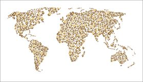 Une carte du monde qui se compose des bitcoins Image stock