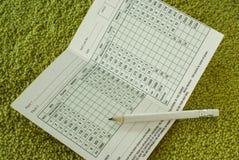 Carte de score de golf photo stock