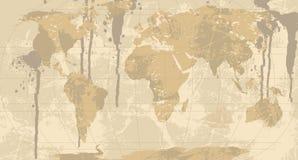 Une carte grunge et rustique du monde. Photos stock