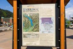 Une carte indiquant la présence d'une source thermale en Colombie-Britannique photo libre de droits