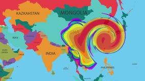 Une carte météorologique dépiste l'ouragan sur la carte du monde illustration de vecteur