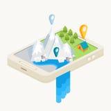 Une carte mobile avec la navigation de GPS illustration de vecteur
