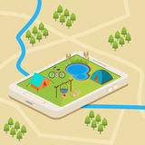 Une carte mobile d'un terrain de camping illustration stock