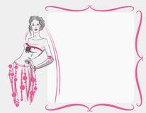 Une carte ou une invitation avec une jeune mariée dans une robe de mariage images stock