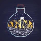Une carte peinte dans une craie en hiver dans une petite bouteille Joyeux Noël et une bonne année 2018 Thème heureux de vacances Image stock