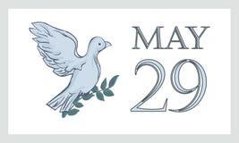 Une carte postale avant le 29 mai est le jour international des Nations Unies de l'ONU de soldats de la paix Colombe, pigeon Image stock