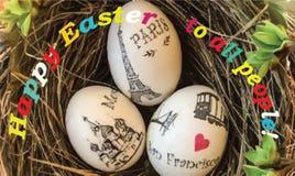 """Une carte postale, ou une bannière avec les mots """"Joyeuses Pâques à toutes les personnes """" illustration libre de droits"""