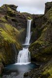 Une cascade anonyme de beatuiefull le long du Skogar- Islande photo stock