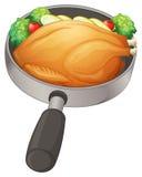 Une casserole avec un poulet frit illustration de vecteur