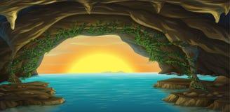 Une caverne et une eau illustration de vecteur