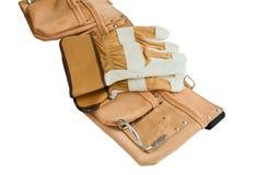 Une ceinture en cuir de travailleurs de la construction vides Image libre de droits