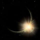 Une certaine planète de silhouette en soleil jaune. Images libres de droits