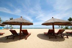 Une chaise de plage Photo stock