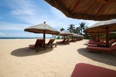 Une chaise de plage Photographie stock