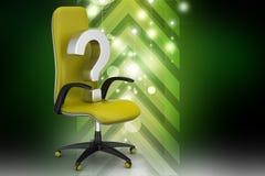 Une chaise vide avec le point d'interrogation Photos stock