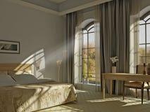 Une chambre à coucher ensoleillée Photographie stock libre de droits