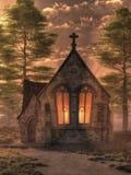 Une chapelle le soir illustration de vecteur