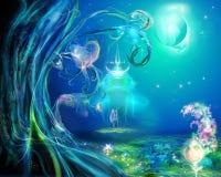Une clairière est dans la forêt magique Photo libre de droits